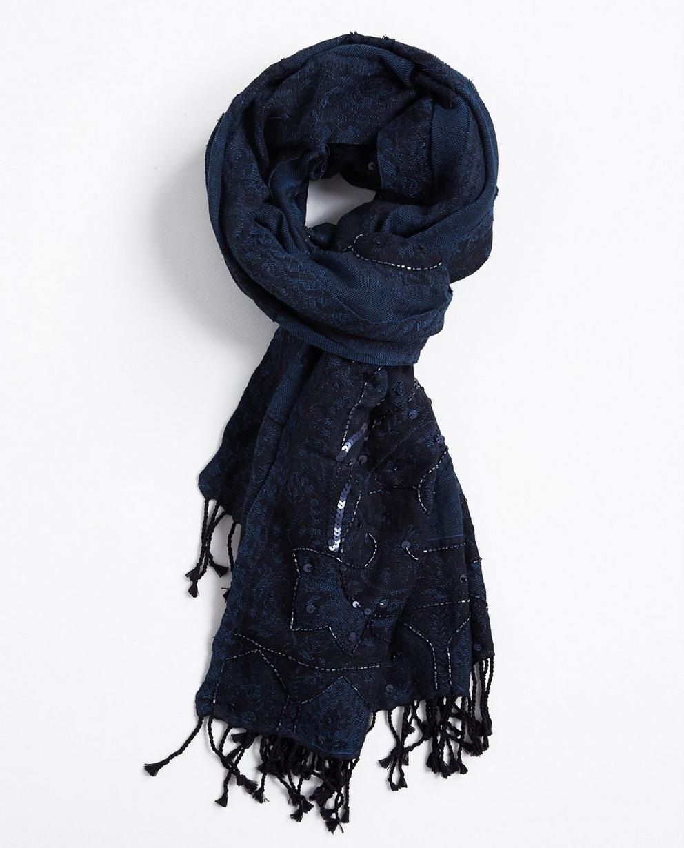 Écharpe avec des perles - bleu nuit - JBC